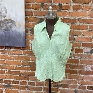 Harold's Green Linen Top Button Front Sz 12 EUC